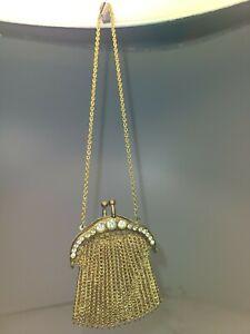 Antique Gold Toned Metal Mesh bag. Coin Purse