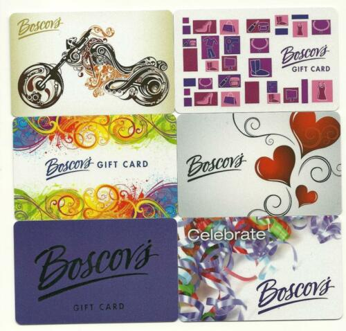 Lot of 6 Boscov/'s Gift Cards No $ Value Collectible New Motorcycle Hearts
