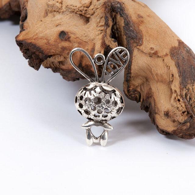 ★★ Kaninchen Hohl Anhänger Silber farbe Kette Schmuck basteln perlen 43x27x12mm