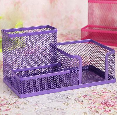 Purple Metal Mesh Desk Organizer Desktop Pencil Holder Storage Box Container