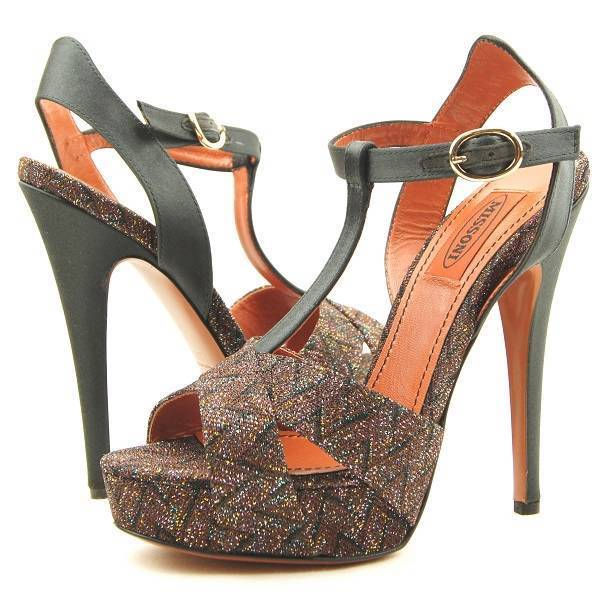 $745 Missoni UM054 T-Strap Platform Sandals, Brown/Metallic 9US/40EU
