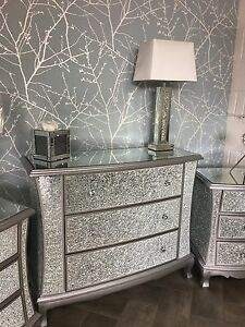 Good Image Is Loading Sparkly Silver Mirrored Mosaic Crackle Glass Chest Of