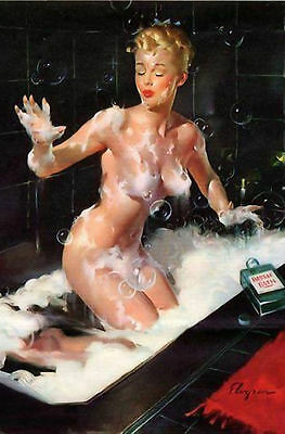 Framed Print - Elvgren Pin Up Girl Naked in Bath with Bubbles (Picture Poster)
