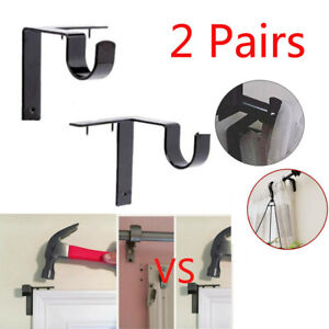 Single Hang Curtain Rod Holders Bracket Into Window Frame Curtain Rod Bracket 1x