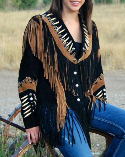 Womens Western Wear Coat Ladies Suede Leather Bones /& Cognac Trim Fringes Jacket