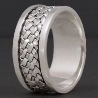 HANDMADE BRAIDED WOVEN ARTISAN SNAKE 925 STERLING SOLID SILVER MENS SPIN RING C4