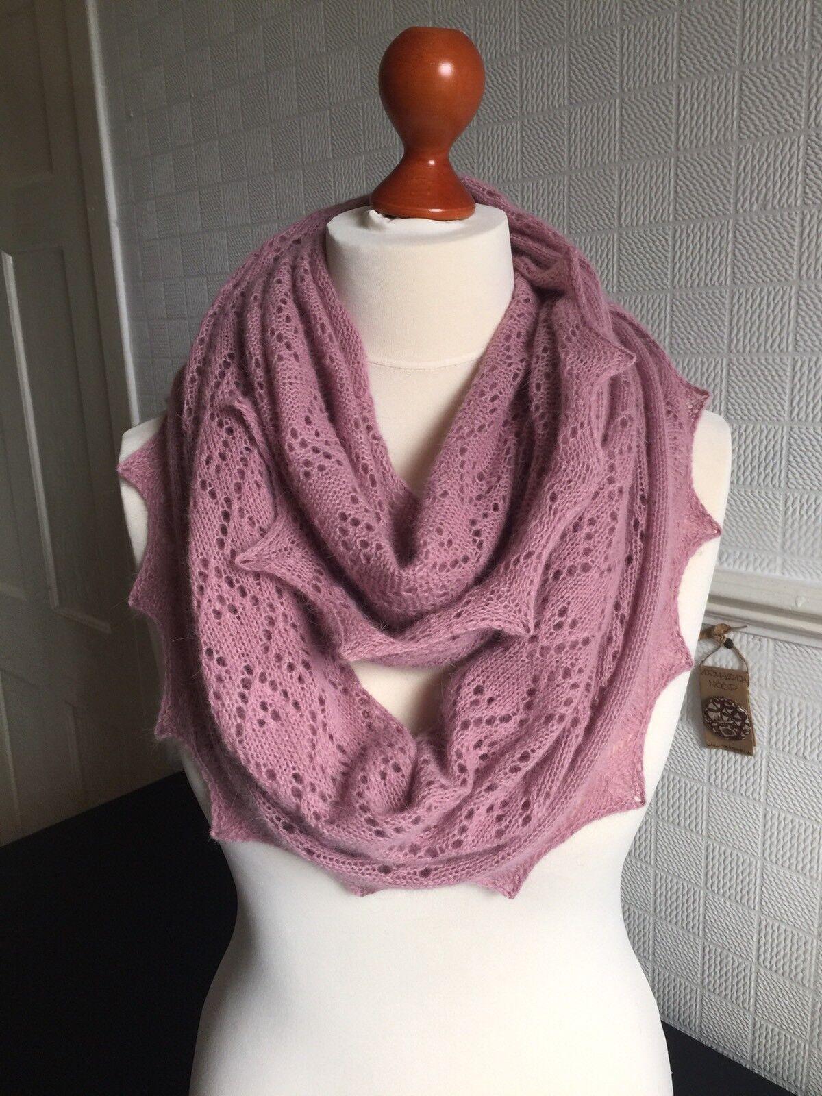 Stunning 50 50 Angora Wool lace snood   infinity scarf col. Dusky Pink