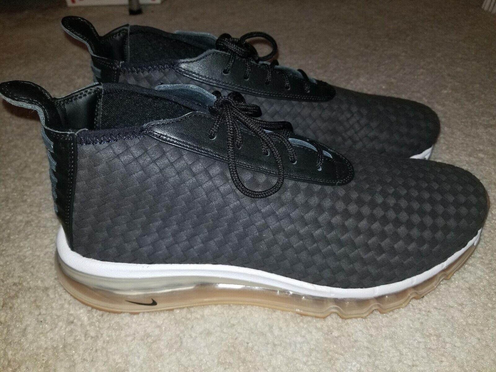 New Sz 11.5 Nike NikeLab Air Max Woven Sneaker Boot Black White Gum 921854-003