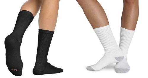 Hanes Mens Crew Socks,Black and White 12-Pack Size 10-13 184V12