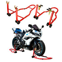 Motorcycle Stands, Front And Rear Set, Front Forklift Rear Spoollift Paddock Red on sale