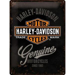 Harley-Davidson-Genuine-Logo-Nostalgie-Blechschild-40-cm-NEU-shield