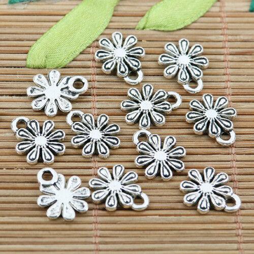 20pcs tibetan silver tone 11.4mm flower charms EF1839