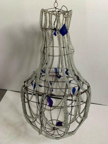 Lustre montgolfière plafonnier luminaire suspension chapelet corbeille pampille
