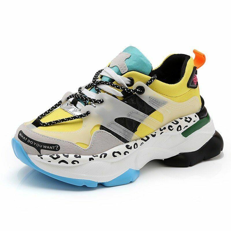 Femmes Couleurs Mélangées Compensé Plate-forme Baskets chaussures Confortable Sports Lace Casual