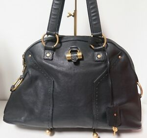 a1a626faa10 Image is loading Auth-YSL-YVES-SAINT-LAURENT-Black-Leather-Large-