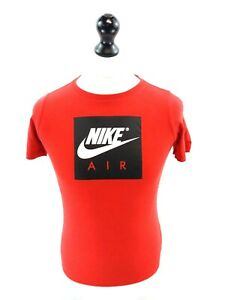 NIKE-AIR-Boys-T-Shirt-Top-12-13-Years-L-Large-Red-Cotton-Polyester-amp-Viscose