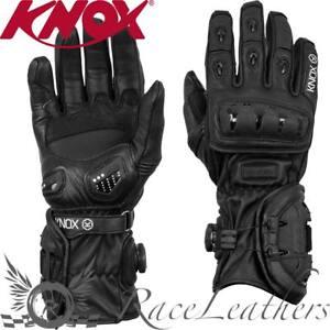 Details zu Knox Nexos Schwarz Hand Armour Sommer Leder Motorradhandschuhe