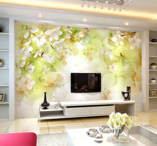 3D Luce verde fiore 2 Parete Murale Carta da parati immagine sfondo muro stampa