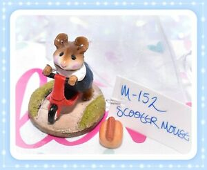 Wee-Forest-Folk-M-152-Scooter-Mouse-Red-Navy-Blue-Pants-RETIRED-WFF-1987