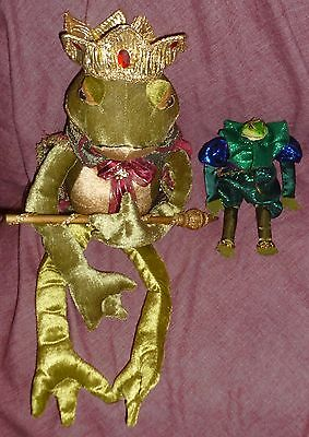 """Lot/2 FROG PRINCES: 24"""" w GOLD CROWN, CAPE & SCEPTER & 9 1/2"""" w/o Crown"""