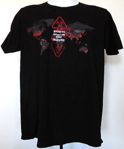 036b3758974 World War Z Movie Black T-Shirt M Zombie Warning Extinction Event