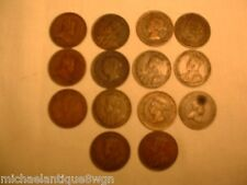 Lot of 14 Canada Canadian Early Large Cents 1859-1920