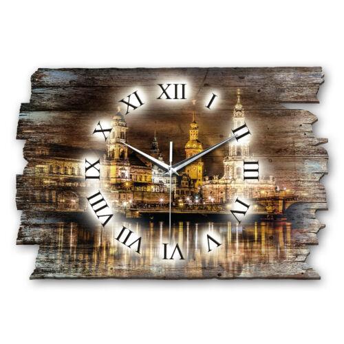Dresden Frauenkirche Shabby Funk Wanduhr leise Funkuhr aus Holz * Kreative Feder