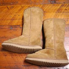 Genuine Brown Leather Sheepskin Suede Shearling Soft Winter Womens Boots 6 36