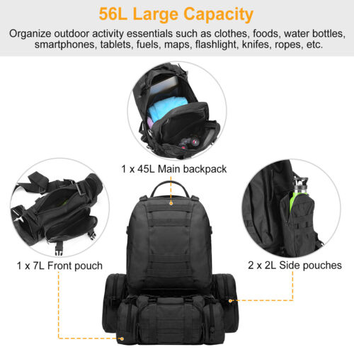 55L 4-in-1 Molle Outdoor Military Tactical Backpack Hiking Trekking Bag Lot