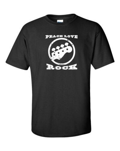 Peace Love ROCK Guitar Rock and Roll Music Men/'s Tee Shirt 860