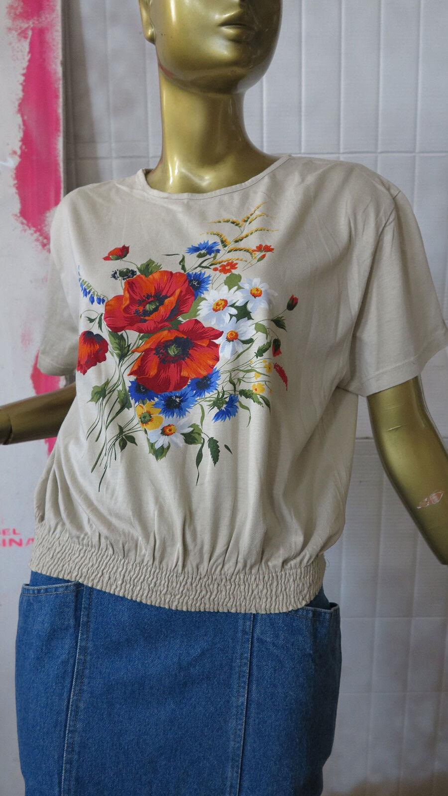 Donna maglietta trachtentop 90er fiori Camicia True Vintage 90s TOP SUMMER Cotton