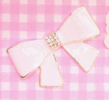 Cute Metal & Diamante Enamel BOW Cabochon Embellishment DIY Deco Kawaii Craft