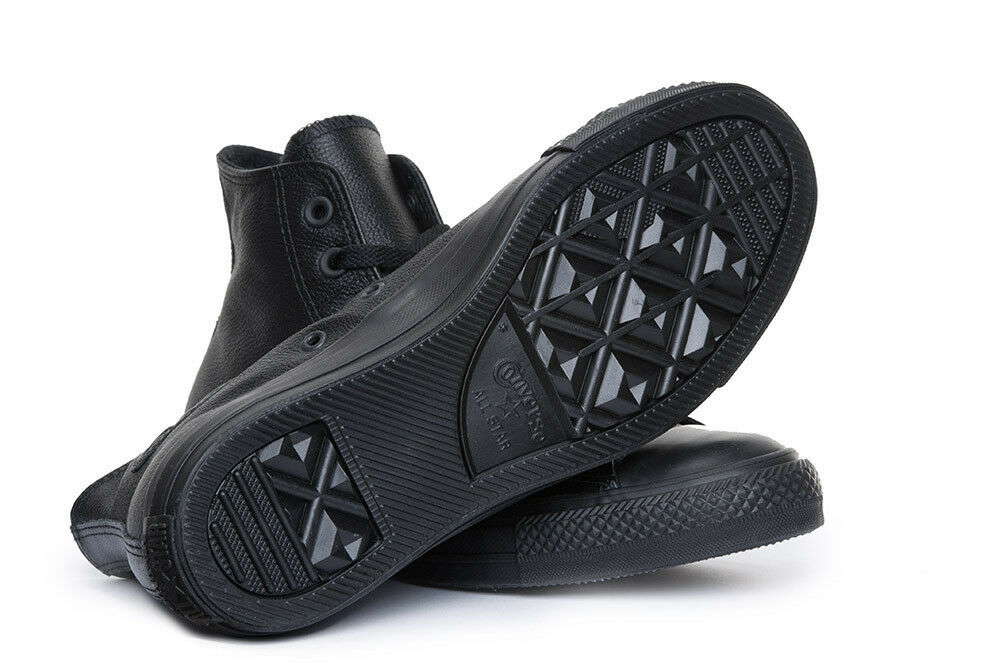 Converse All Star Chuck Taylor alta in pelle pelle pelle scarpe da ginnastica Mono Nero Taglia 81e906