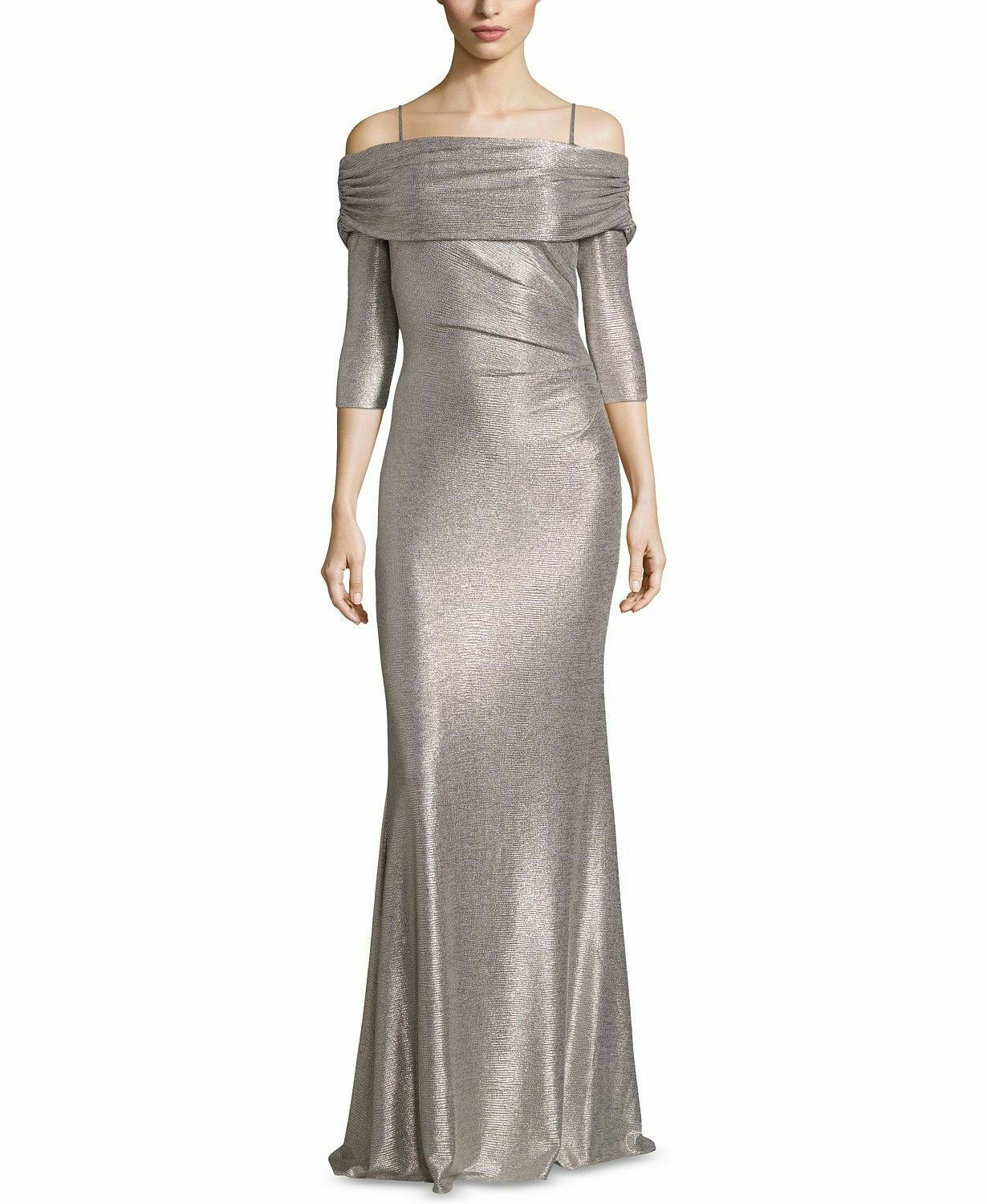NEW  BETSY & ADAM WOMEN gold METALLIC RUCHED COLD-SHOULDER GOWN DRESS SIZE 8