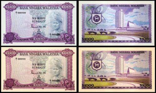 2 MALAYSIA RM1000 1000$ SA-RIBU RINGGIT BANKNOTES !NOT REAL! !COPY