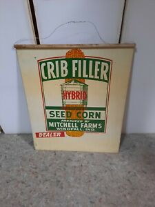 Vintage-RARE-Double-sided-Metal-Crib-Filler-Hybrid-Seed-Corn-Farm-Sign-Ind