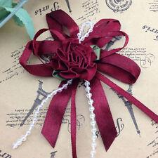 5/15/50pcs Big Satin Ribbon Flower Bows with Bead wedding Decoration Craft A0100