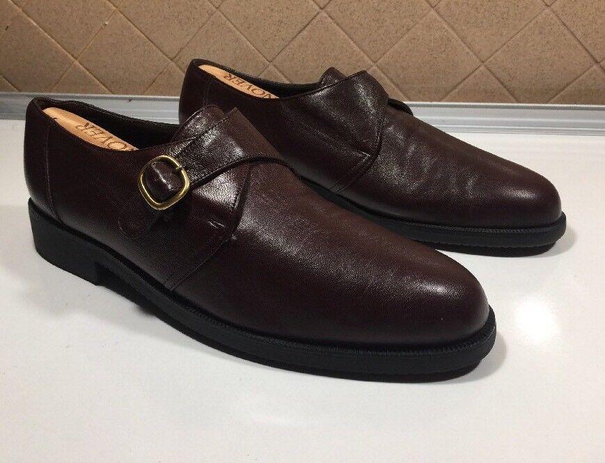 602)Bally Switzerland Dark/Brown Leather Monk Strap Uomo's Shoe Size US 10.5 D