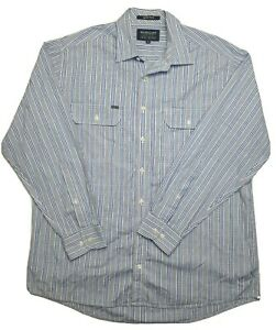 RB-Sellars-Men-039-s-Long-Sleeve-Strip-Blue-Shirt-Size-XL
