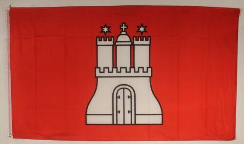 Hambourg Drapeau 250 x 150 cm résistant aux intempéries drapeau œillets Intérieur Extérieur Grande Hissflagge