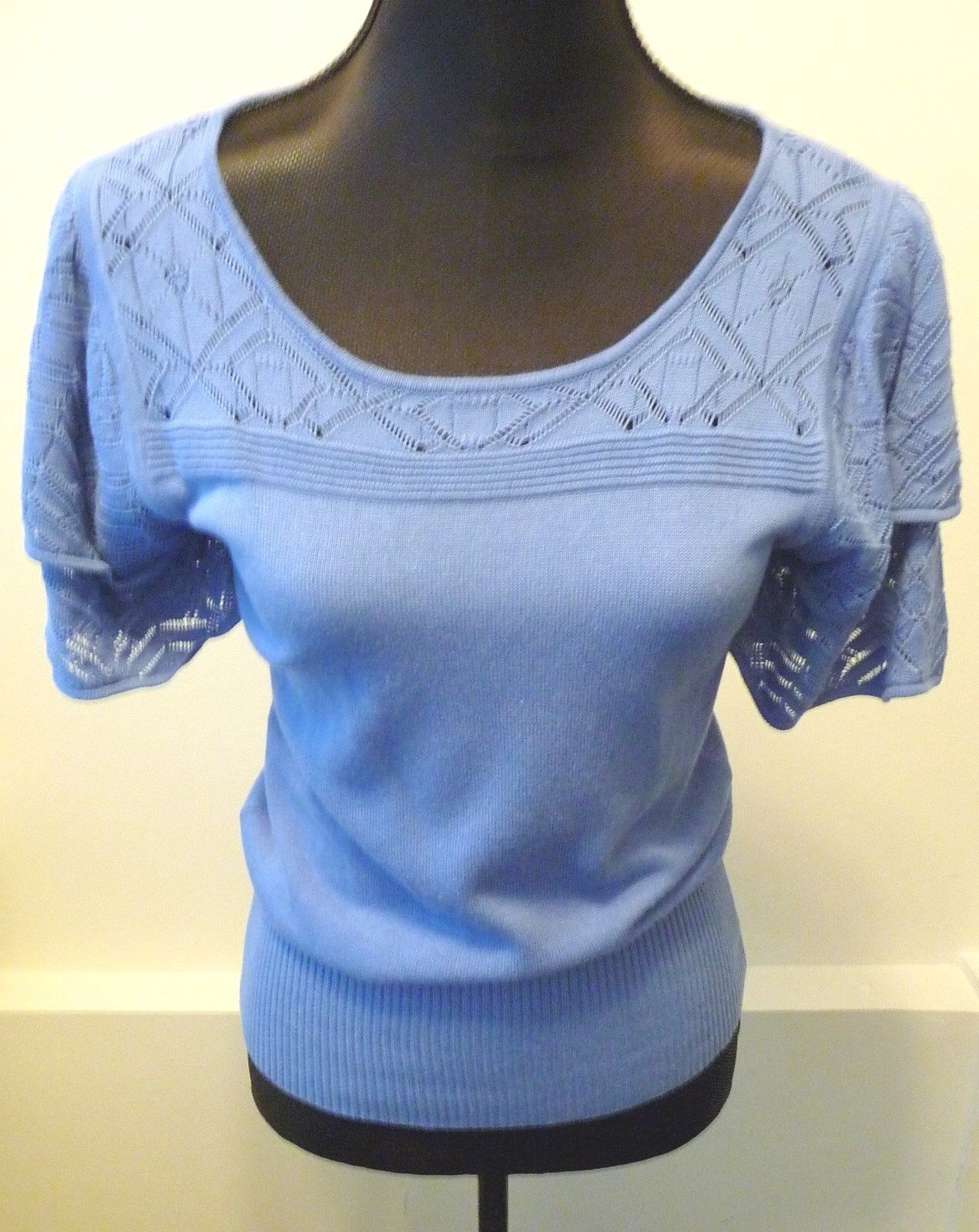 Neiman Marcus NWT bluee Cotton Knit Short Flutter Sleeve Sweater Size Small