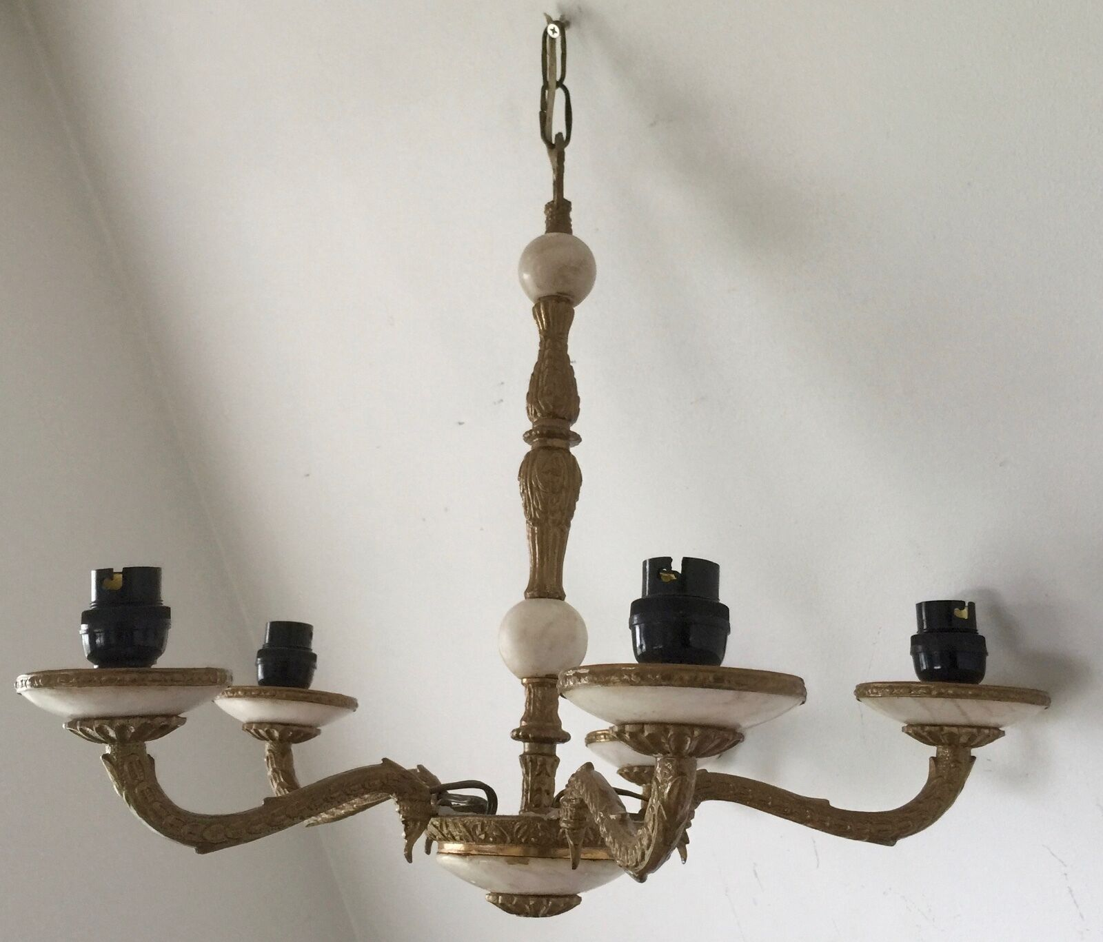VINTAGE MARBLE ONYX AND Gold PAINTED CEILING 5 LIGHT CHANDELIER 16  T X 18  W