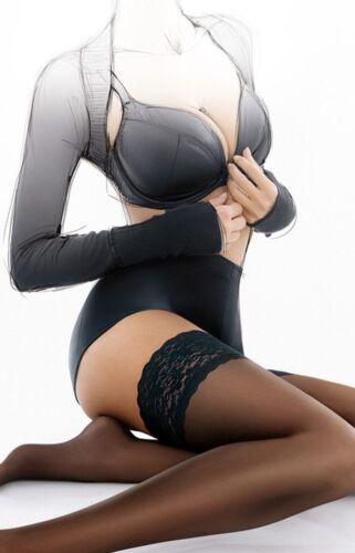 Gatta Michelle 01 Hold-Ups Size XS//S White Natural Visone Panna Stockings 1-2