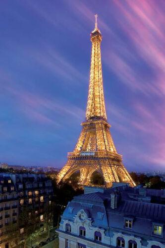 Beauty Lights France Paris Blue sky Staple Piece Eiffel Tower at Dusk Poster