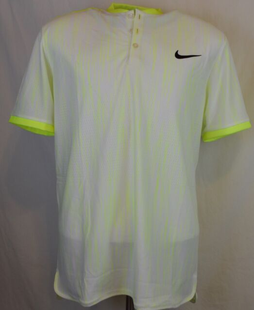 Nike Court Baseline Crew Tennis Shirt Ghost Green Mens Sz
