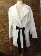 Zara Kimono Oversized Wrap Jacket Coat White Black Belt Tie Blazer M Medium