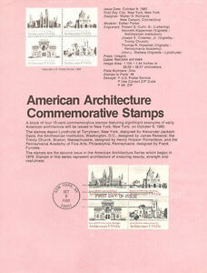 #8019 15c Architecture Stamps - Scott #1838-1841 USPS Souvenir Page