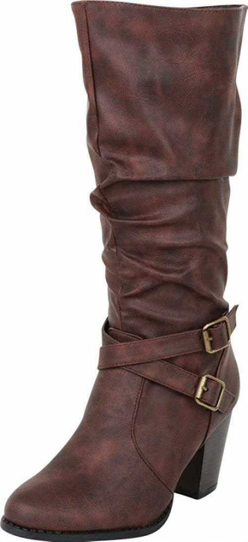 Cambridge Select Women's Slouch Crisscross Strappy Stacked High Heel...