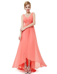Details about Ever-Pretty US Coral Long Evening Dress High Low V-Neck  Bridesmaid Dresses 09983 2a416c813