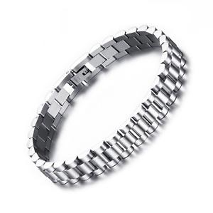 Bracciale-Uomo-Cinturino-Orologio-Acciaio-Inox-Catena-Bracialet-Man-Watch-Strap